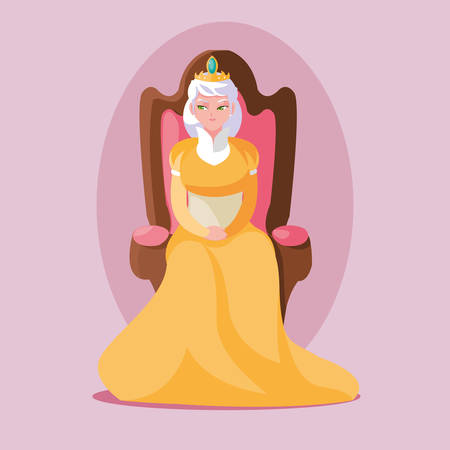 queen fairytale magic sitting in chair avatar character vector illustration design