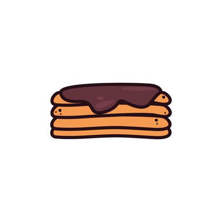 tasty fluffy pancakes in white background vector illustration design