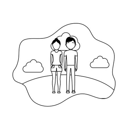 young couple with clouds avatar character vector illustration design Ilustrace
