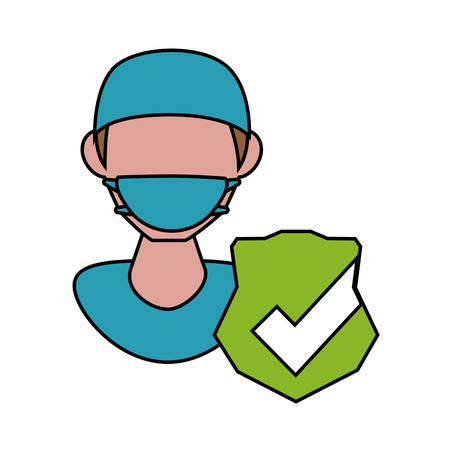 professional dentist with check symbol vector illustration design
