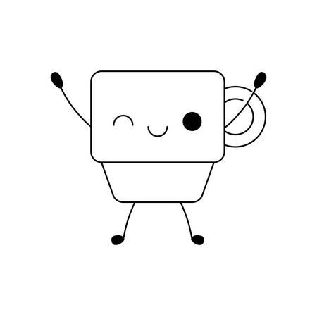 cute cup ceramic style vector illustration design