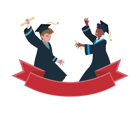 interracial students boys graduated celebrating with ribbon vector illustration