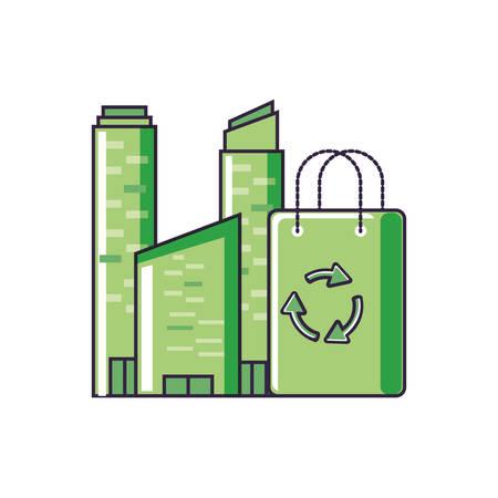 bag eco friendly with buildings facade vector illustration design Illusztráció
