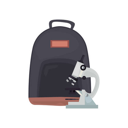 backpack and microscope back to school vector illustration