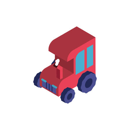 farm tractor red in white background vector illustration design