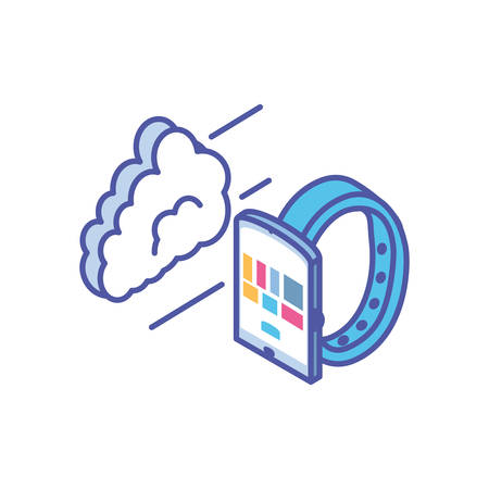 smart watch device with cloud information vector illustration design