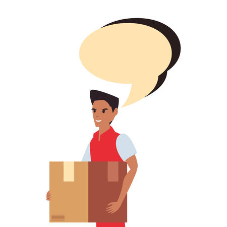 man employee package talk bubble fast deliveryvector illustration Ilustracja