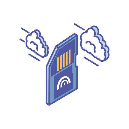 micro sd card with with cloud information vector illustration design