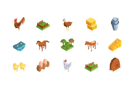 set of icons of farm on white background vector illustration design
