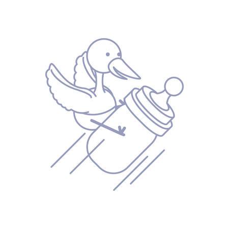 cute stork animal with bottle milk baby vector illustration design