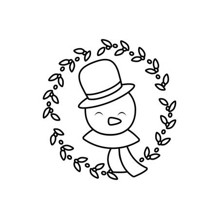 head of snowman with hat and scarf on white background vector illustration design