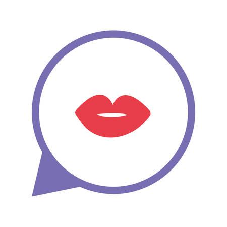 social media talk bubble kiss vector illustration