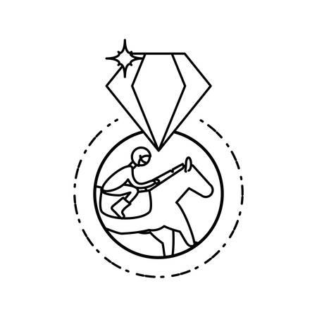 horse with jockey racecourse with diamond stone vector illustration design