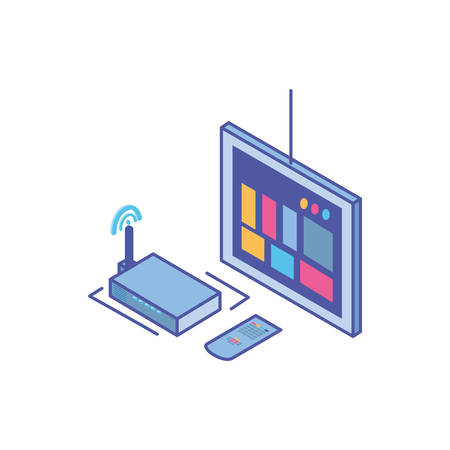 tv screen with remote control and wireless router vector illustration design 일러스트