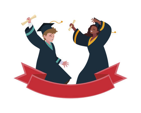 interracial couple students graduated celebrating with ribbon vector illustration