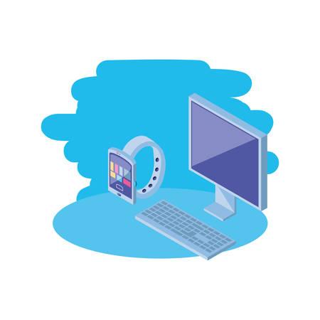desktop computer screen with smart watch vector illustration design