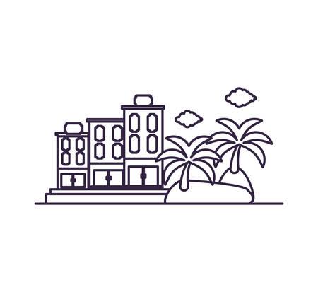 island beach with hotel building vector illustration design