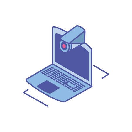 open laptop with surveillance camera vector illustration design Illustration
