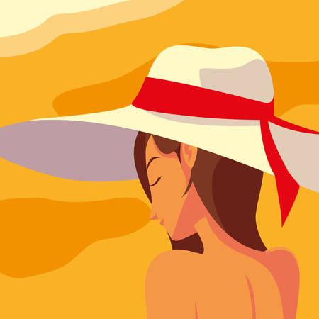 woman of profile with swimsuit in the beach vector illustration design