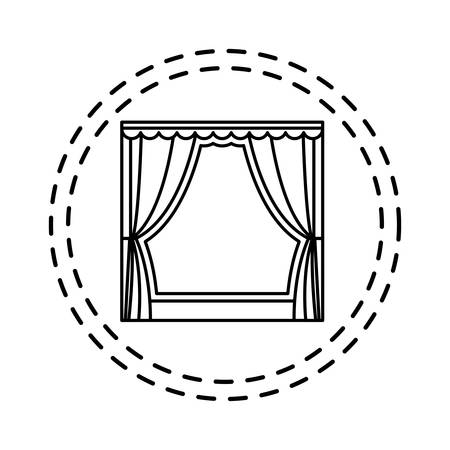 patch of theater curtain event isolated icon vector illustration design Çizim