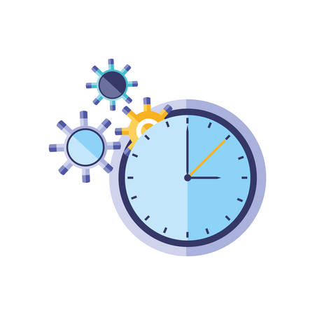 time clock watch with gears pinions vector illustration design