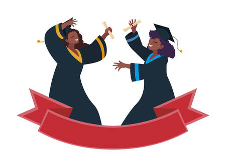 afro woman student graduated celebrating vector illustration design