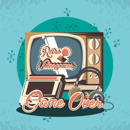 retro videogames design with retro television and related icons over blue background, colorful design. vector illustration