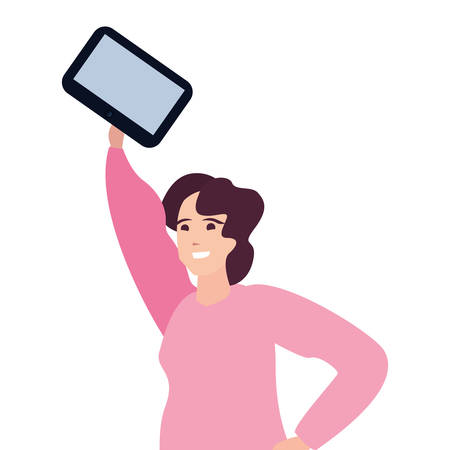 woman holding smartphone young happy people vector illustration Illustration