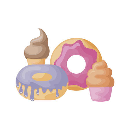 set of delicious donuts with ice cream and cupcake vector illustration design