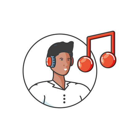 young man with earphones and music note vector illustration design Stok Fotoğraf - 133842636