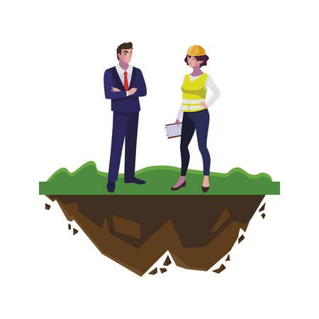 engineer with female builder on the lawn vector illustration design Illusztráció