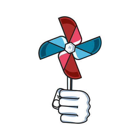 fan windmill toy with hand fist power vector illustration design