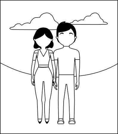 young couple with clouds avatar character vector illustration design Illustration