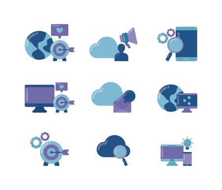 set icons of social media vector illustration design Иллюстрация