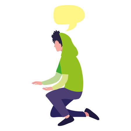 young man with talk bubble vector illustration