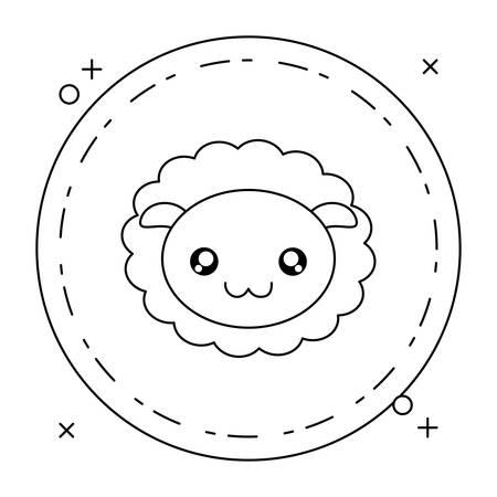 head of cute little sheep baby in frame circular vector illustration design