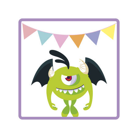 square frame with monster flying and party garlands vector illustration design Illusztráció