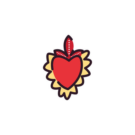 Mexican heart design, Mexico culture tourism landmark latin and party theme Vector illustration
