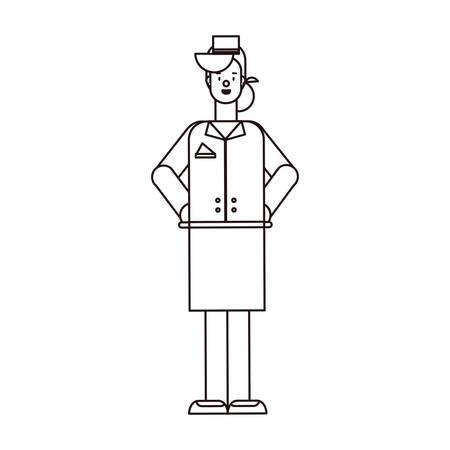 feliz día del trabajo - azafata empleado fondo blanco ilustración vectorial estilo lineal