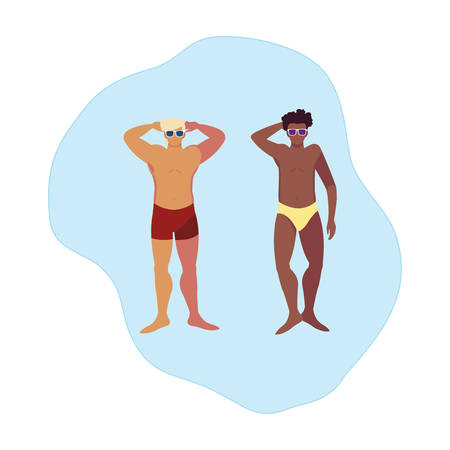 interracial men with swimsuit floating in water vector illustration design Ilustracja