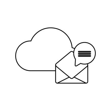 envelope with cloud computing and speech bubble vector illustration design Illusztráció