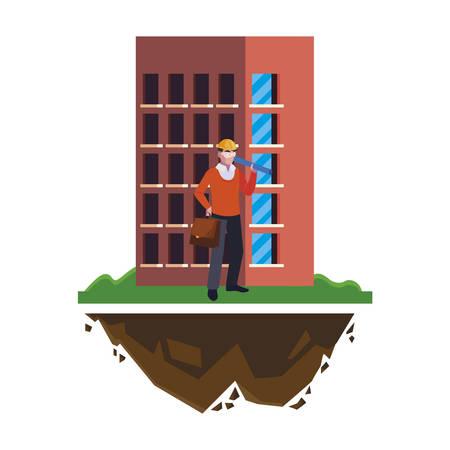 architect builder worker with building vector illustration design Illusztráció