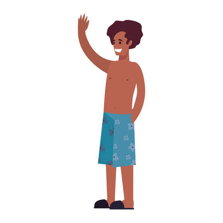 man in swimsuit on white background vector illustration