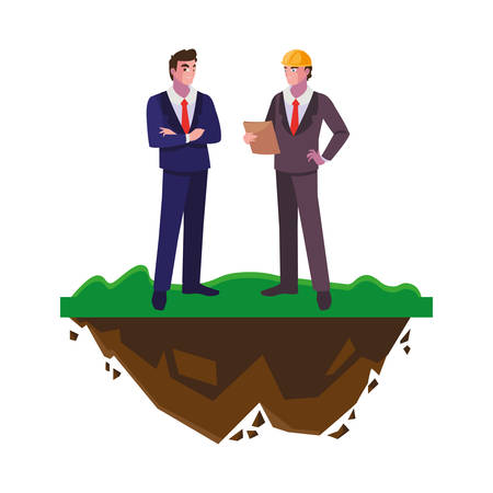 engineers builders workers on the lawn vector illustration design