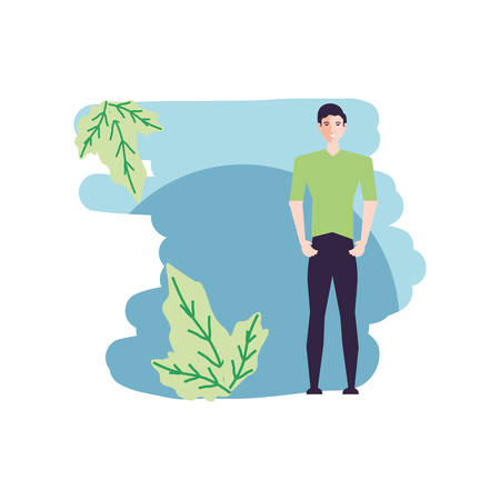 young man attractive with leafs nature vector illustration design Ilustracja