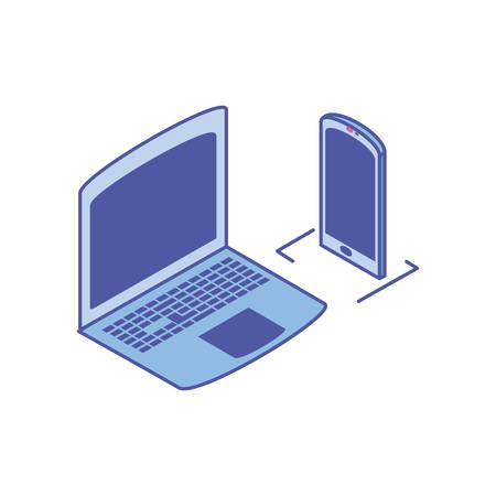 open laptop with smartphone screen vector illustration design
