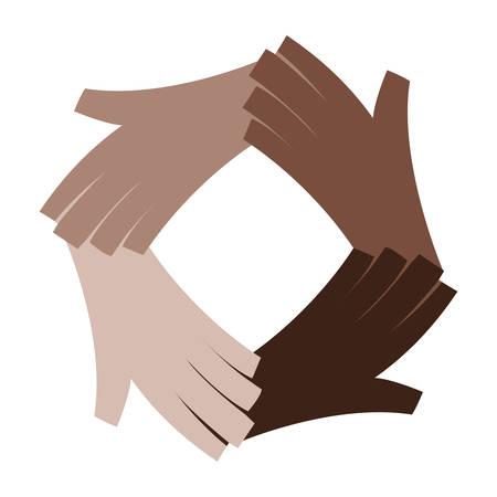 Diseño de ilustración de vector de icono humano de manos de diversidad