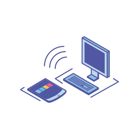 desktop computer screen with keyboard and smartphone vector illustration design Illusztráció