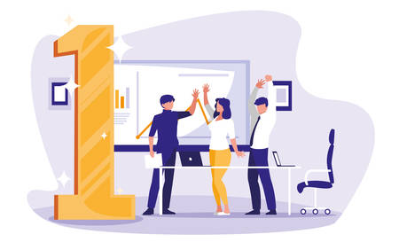 business people celebrating in the workplace with number one vector illustration design