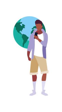 young man using smartphone world media vector illustration Illusztráció